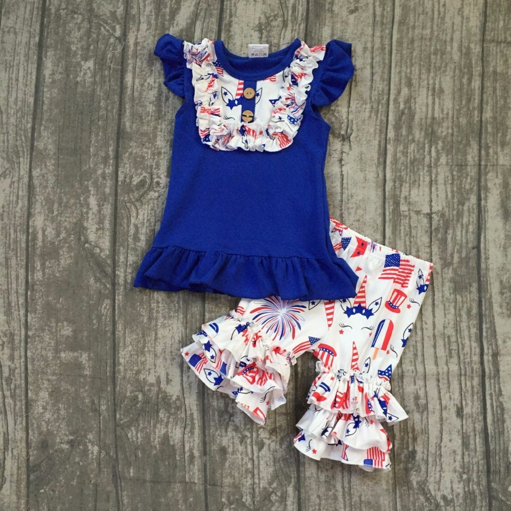 baby girls summer clothes children July 4th Patriotic clothes girls top with unicorn shorts outfits girls July 4th summer outfit 4th of july baby girls clothing set summer girls tees ruffle short girls outfit american usa flag baby clothes 2pcs kids clothes