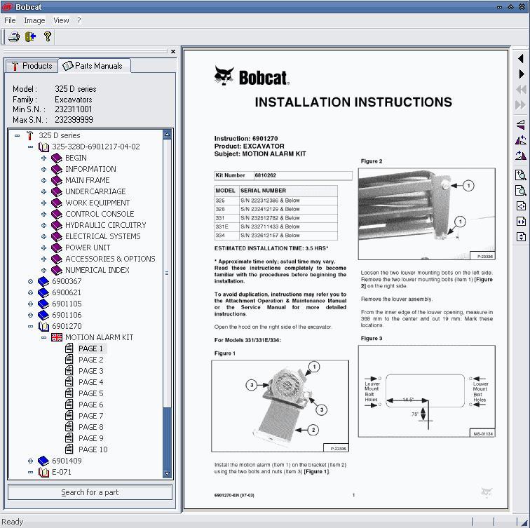 ФОТО Bobcat parts catalog 2005