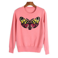 Knitted Sweaters 2017 Winter Women Milu Butterfly Embroidery Beaded O Neck Skinny Long Sleeve Pullover Sweater