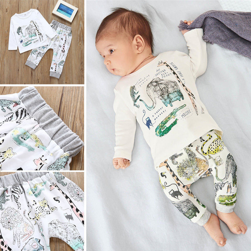 New Boys Clothes Fashion Cute Kids Cartoon Animal Print Long Sleeves Top and Printed Leggings 2pcs Children Set