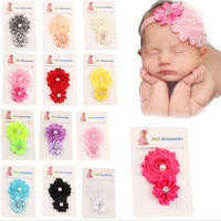 Baby Girl S 14PCs Per Set Shabby Faux Pearl Rhinestone Headbands Free Shipping