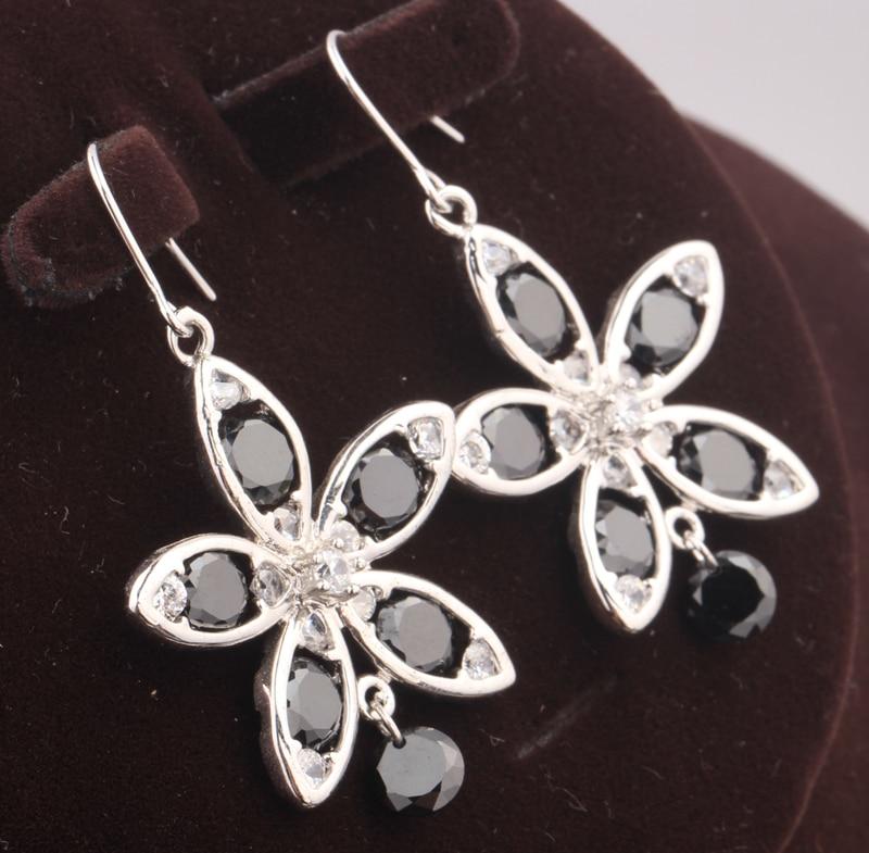 Fancy Black Onyx Zircon 925 Sterling Silver Party Jewelry Drop Dangle Earring S5513