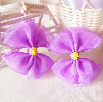 Free Shipping 150pcs/lot Purple Organza Bow Hair Clip with Resin Sunflower