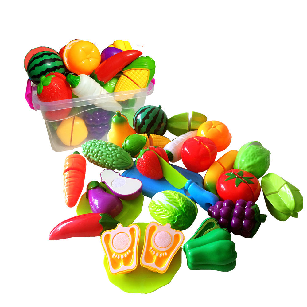 2017 New Brand Fruit Pretend Kitchen Cutting Set New Fruit Vegetable Food Reusable Role Play Colorful Toys Kids Gift #1
