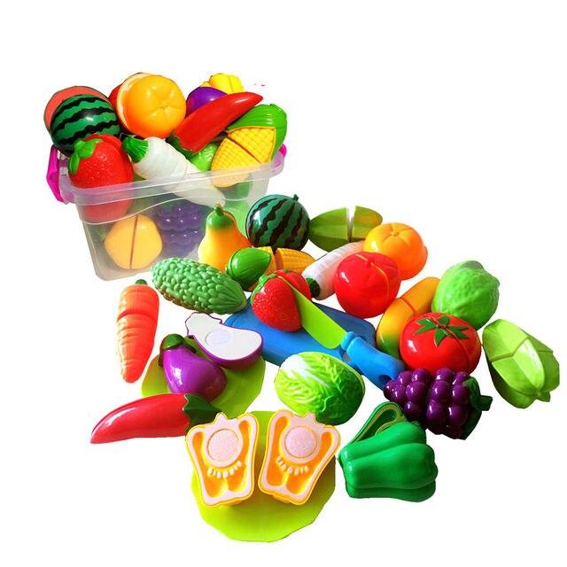 2017 Nieuwe Merk Fruit Pretend Keuken Snijden Set Nieuwe Fruit Groente Voedsel Herbruikbare Rollenspel Kleurrijke Speelgoed Kids Gift