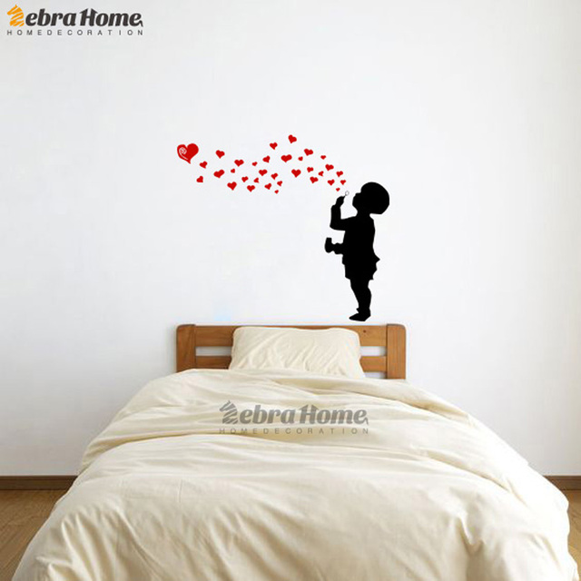 Kid Blowing Heart Bubble Creative Wall Stickers For Baby Bedroom Living  Room Murals Wallpaper For Nursery Part 88
