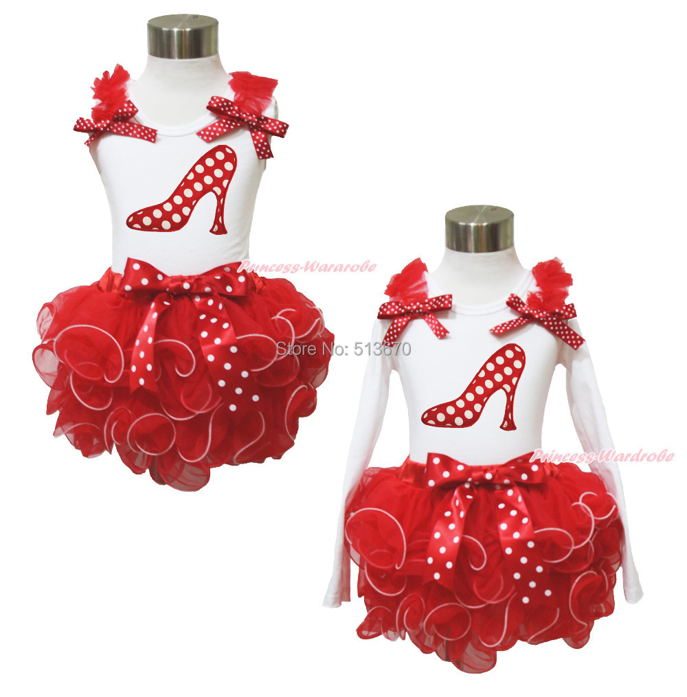 XMAS Red White Polka Dots Heels White Top Baby Girl Red Petal ...