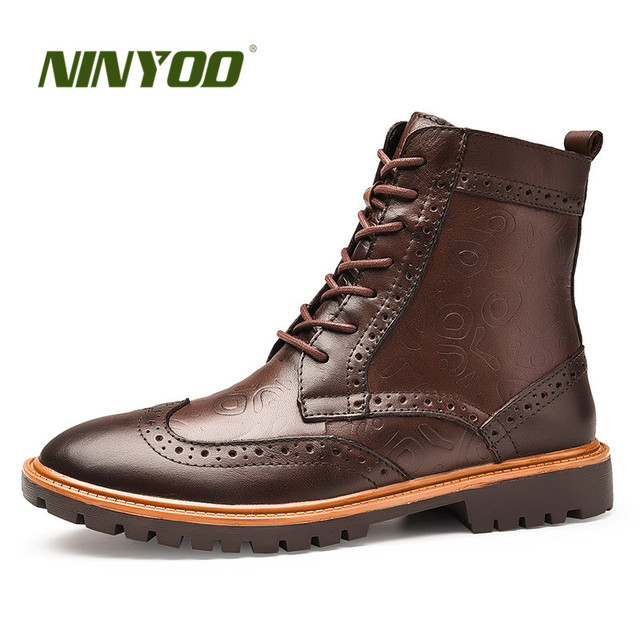Ninyoo Baru Fashion Sepatu Bot Musim Dingin Pria Kulit Asli Brogue Sepatu  Boots Tahan Air Martin 5e41e825b9