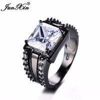 JUNXIN 90 OFF! Fashion Big Square Stone Women Men's Ring Black Gold Zirconium Black/Red Blue Crystal Square Male Wedding Ring