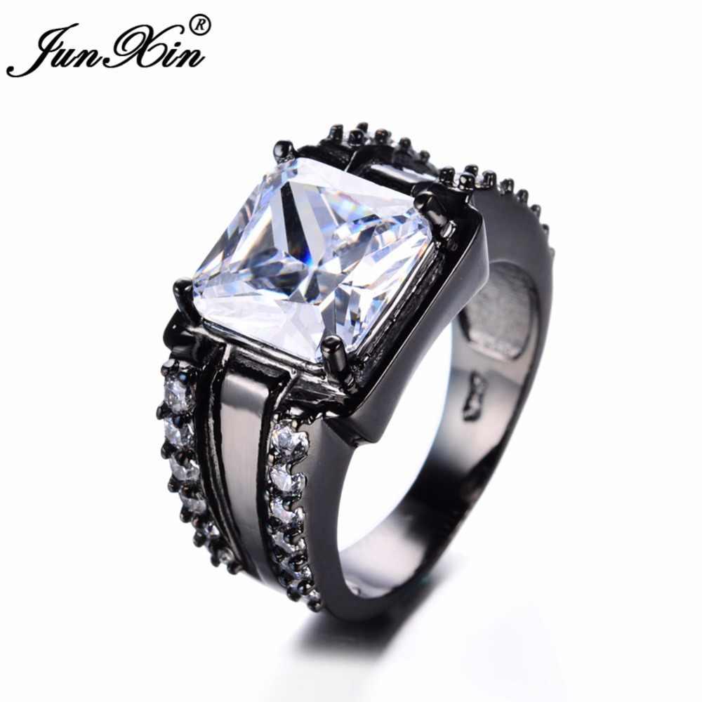 JUNXIN 90 ปิด! แฟชั่นสแควร์บิ๊กสแควร์หินผู้หญิงผู้ชายแหวนเซอร์โคเนียมสีดำ/สีแดงคริสตัลสแควร์แหวนแต่งงานชาย