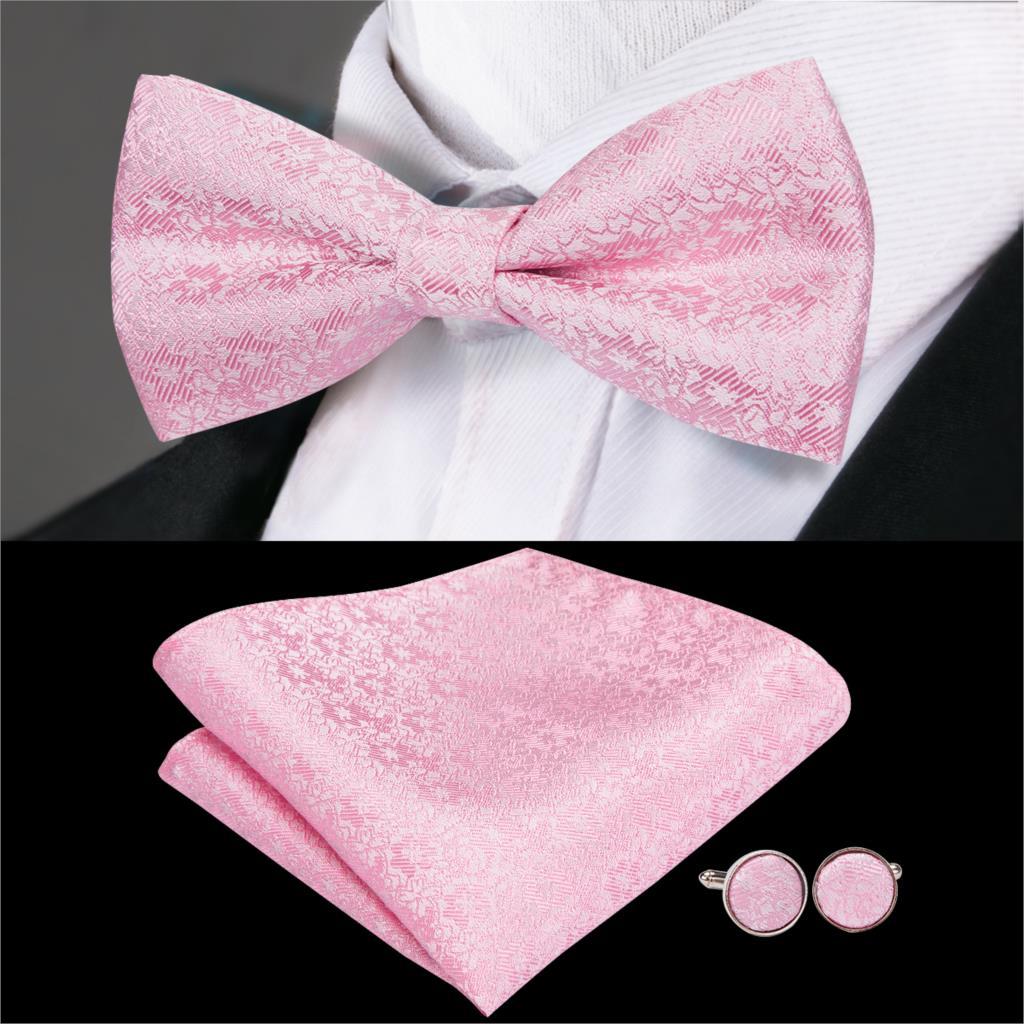 Hi-Tie Silk Floral Bow Ties Luxury Pink Bowtie Men's Wedding Bow Tie Pocket Square Cufflinks Set Suit Wedding Party LH-751