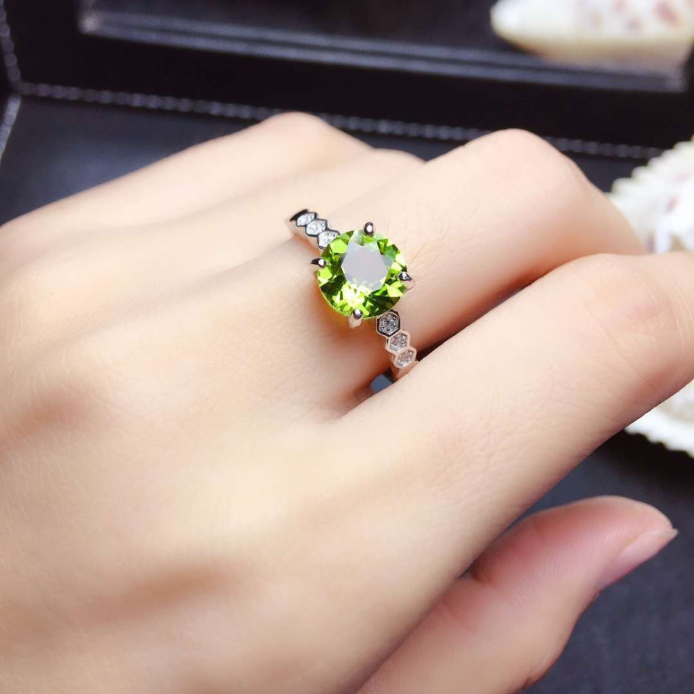 Fashion elegance round cirque Natural green peridot Ring S925 Silver Natural olivine Ring girl Women s