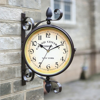Unique gift retro metal iron home decorative rotated antique the double two faced wall clock vintage on the wall