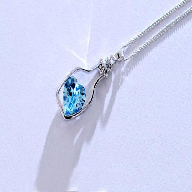Sunstone Bottled contain hart shape stone Necklaces 5