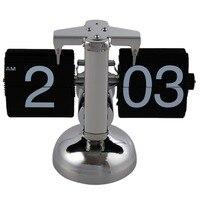 Retro Flip Over Clock Metal Table Desk Clock Quartz Balance Auto Digital Desk Table For Home Decor