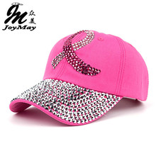 2016 New Fashion Health Care For Women Breast Denim Cotton Rhinestone Hat Baseball Cap With Pink Ribbon Diamante B292