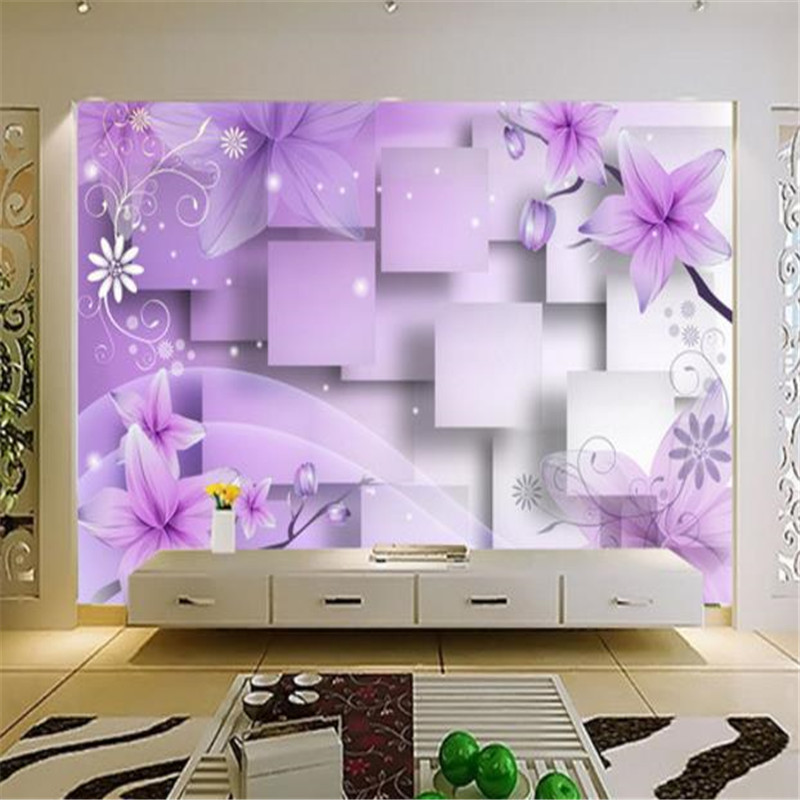 Custom 3D Photo Wallpaper Modern Abstract Wall Painting Purple Flowers Mural for Living Room Background Home Decor Walls Papers shinehome sunflower bloom retro wallpaper for 3d rooms walls wallpapers for 3 d living room home wall paper murals mural roll
