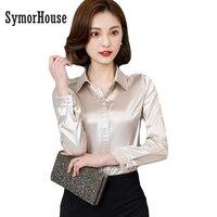 Women Silk Satin Blouse Button Long Sleeve White Gold Red Black Lapel Ladies Office Work