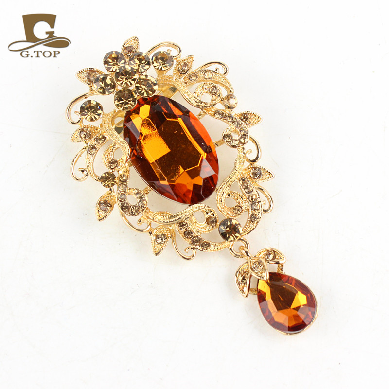 Turban cap acessory gold tone Crystal Rhinestone Glass Brooch Pins Wedding Jewelry