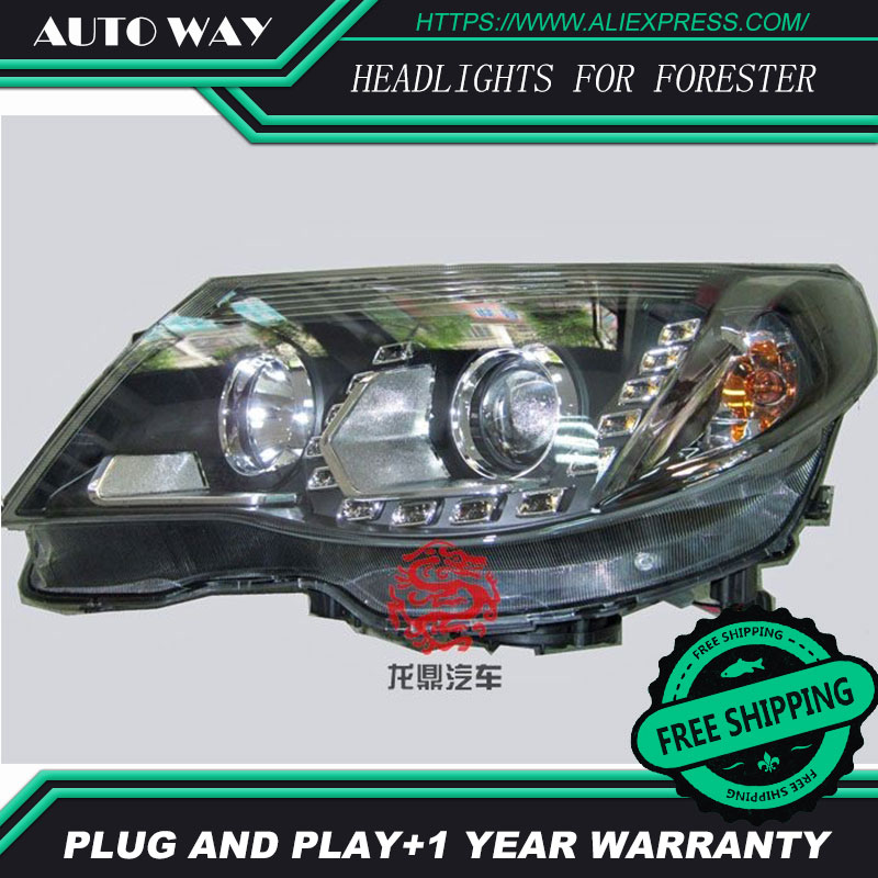 Free shipping ! Car styling LED HID Rio LED headlights Head Lamp case for Forester 2008 2009 Bi-Xenon Lens low beam