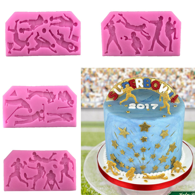 Sports ball series Football Rugby Golf Baseball cooking tools fondant baking Cake Sugar chcolate Silicone Craft candy H167