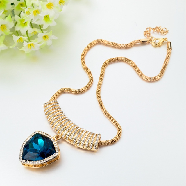 Chicvie ожерелья и подвески в форме сердца с голубым кристаллом