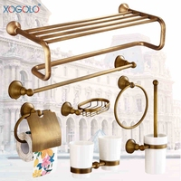 Xogolo Copper Brushed Antique Wall Mounted Bath Hardware Sets Paper Towel Holder Rack Bathroom Shelf Accessories