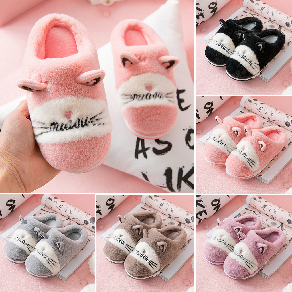 Kid's Slippers Children Cute Cartoon Cat Warm Non-slip Floor Home Slippers Indoor Shoes Chinelo Pantuflas Sapatinho De Bebes