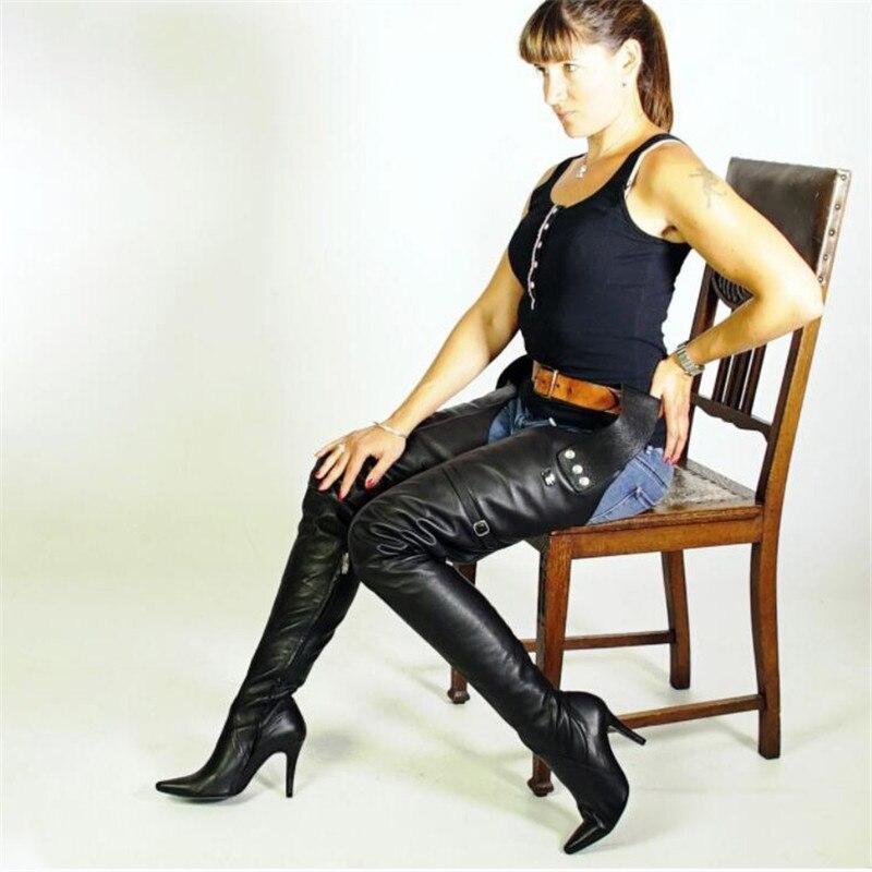 2019 nuevo tipo muslo alto botas con cinturón puntiagudos tacones altos zapatos con cremallera lateral para mujeres botas de cintura de cuero negro sobre la rodilla - 4