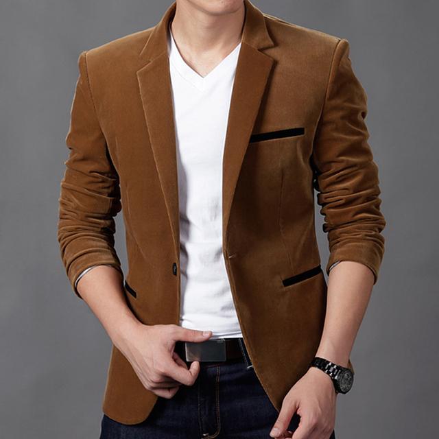 2016 invierno Hombre Chaquetas de Traje de Terciopelo de Oro Masculina Vestidos de Diseñadores de Moda de Alta Calidad Chaqueta Informal Slim Fit Negocios Vestido M-3XL