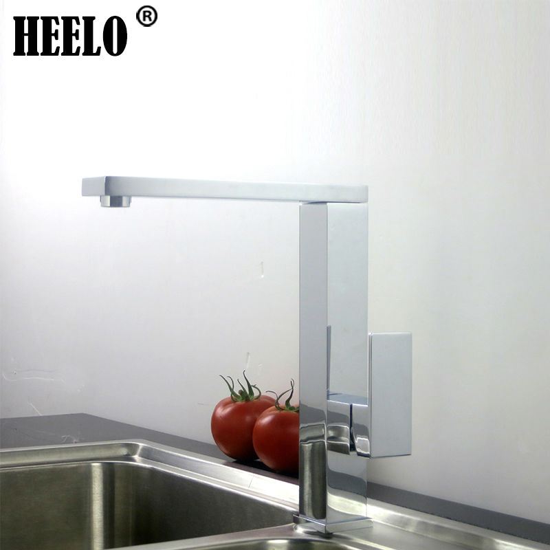 Square single lever kitchen faucet swivel sink faucet kitchen faucets hot and cold water mixer chrome