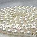 Подлинная 8-9 мм выращенный пресной воды белый круглый природный жемчуг подвески ожерелье делая 34 дюймов А. А. + MY4612