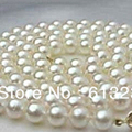 Genuine 8-9mm cultured freshwater white round natural pearl charms necklace making 34 inch AA+ MY4612