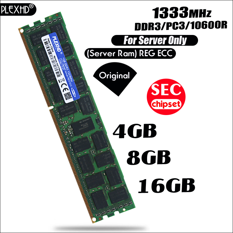 PLEXHD 4GB 8GB 16GB PC3 10600R DDR3 1333MHz 4G 8G 16G 2Rx4 REG ECC High Quality server memory RAM For Samsung server SEC chipset