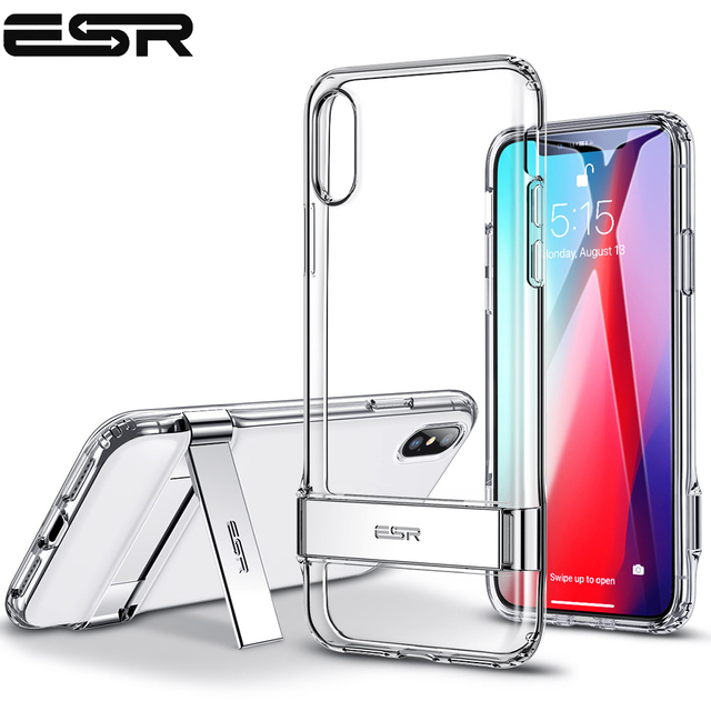 the best attitude e3620 25445 ESR Case for iPhone XS XR XS Max Metal Kickstand Case Vertical and  Horizontal Stand Soft TPU Bumper Transparent Cover for iPhone