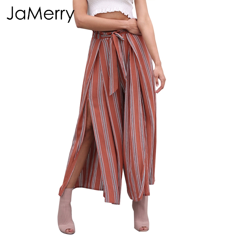 JaMerry Striped high waist spring   pants   women Casual pleated   wide     leg     pants   trousers 2019 Summer beach split chic   pants   female