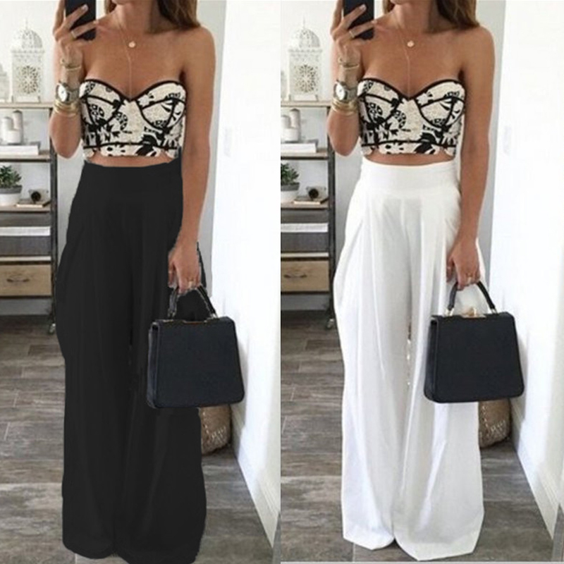 Women High Waist Loose Wide Leg Pants 2018 Summer Casual Side Zipper Solid Long Trousers Female