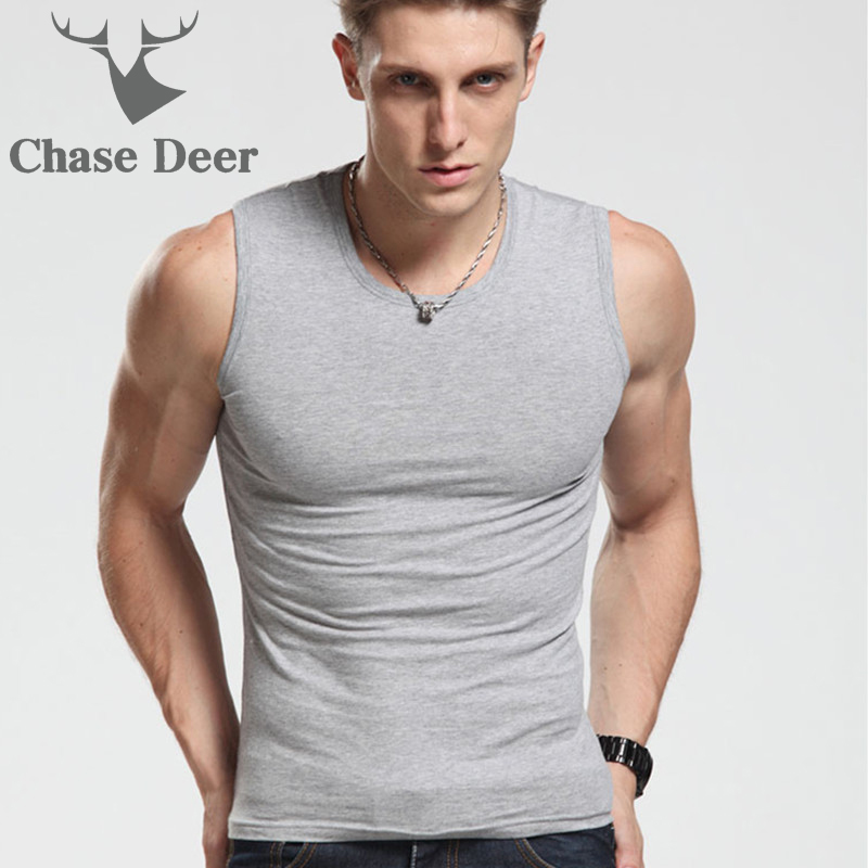 2018 Men   Tank     Top   New Brand Chase Deer Cotton High Quality Undershirt Bodybuilding Singlet Fitness Sleeveless Vest Men   Tank     Tops