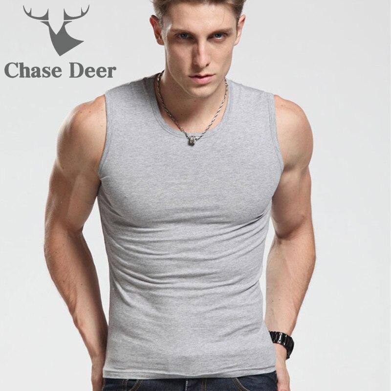 2019 Men   Tank     Top   New Brand Chase Deer Cotton High Quality Undershirt Bodybuilding Singlet Fitness Sleeveless Vest Men   Tank     Tops
