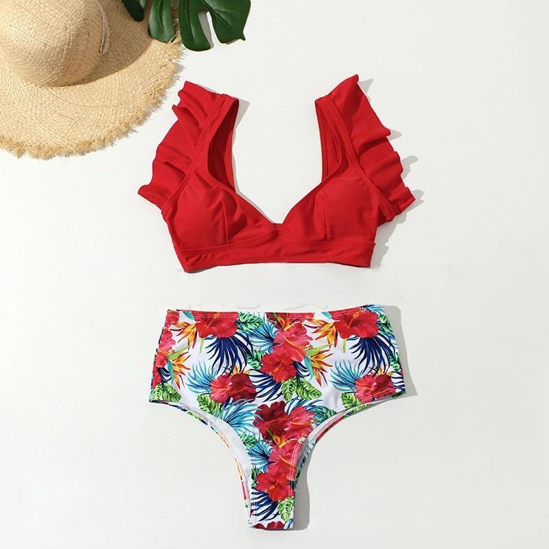 Bikini Ruffle High Waist Women 2019 Swimsuit Print Push Up Biquinis Swim Suit Triangle Set