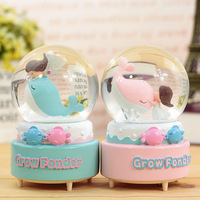 Creative Dolphin Girl Kissing Snow Music Box Crystal Ball Girl Birthday Gift Lights Music Box Cute Dolphin Princess glass ball