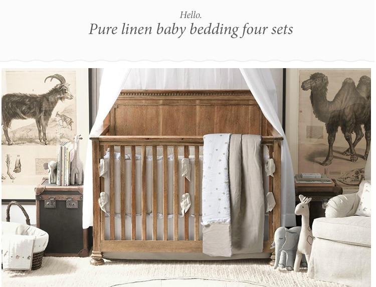 4 Pc Crib Infant Room Kids Baby Bedroom Set Nursery Bedding Pure Linen cot bedding set for newborn baby girl and boy