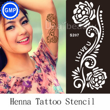 1sheet India Style Professional Level Hand Painted Henna Tattoo Stencil Paste Templates Stencils Rose Flower For Painting S207
