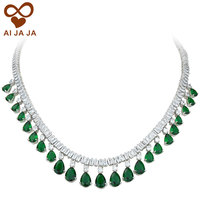 Luxury Square Water Drop CZ Diamonds Paved Emerald Green Wedding Necklace Pendant For Women Bride Party
