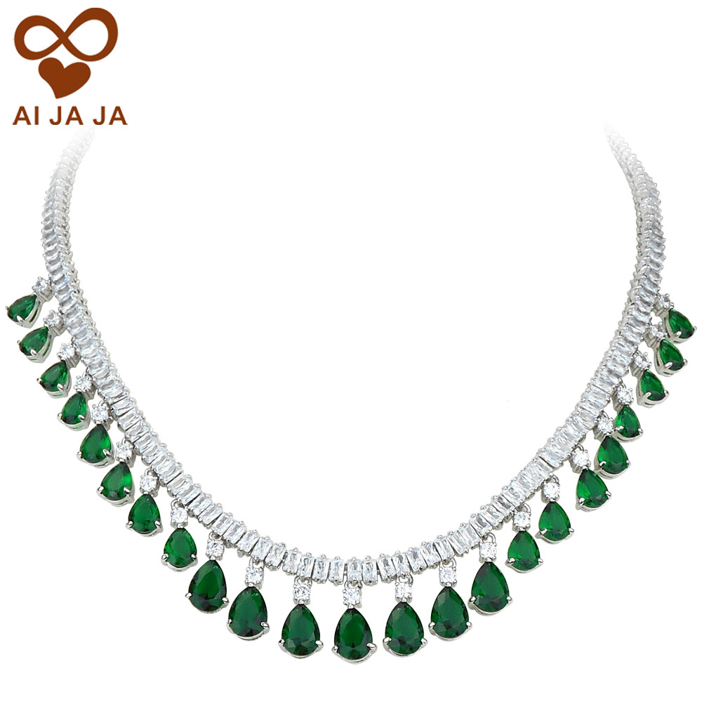 Luxury Square Amp Water Drop Cz Diamonds Paved Emerald Green