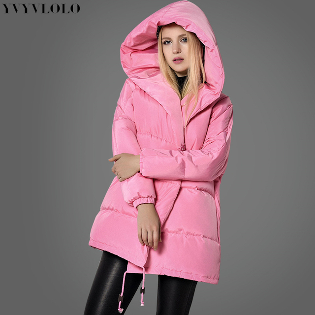 YVYVLOLO Women s Winter Jacket Pink girl coat 2017 New fashion cute loose  parkas hooded down jacket button jacket women ddfa7e82b5