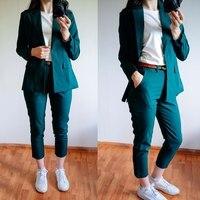 2018 Pure Color Simple Boyfriend Suit Jacket Small Seven Length Pants Clothes Covered Button Elegant Women Suit Femme