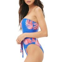 5cd0f55fdd91 Summer Leaf Print One Piece Swimsuit Lace Up Wrap Chest Women Monokini 2019  New Fashion Summer