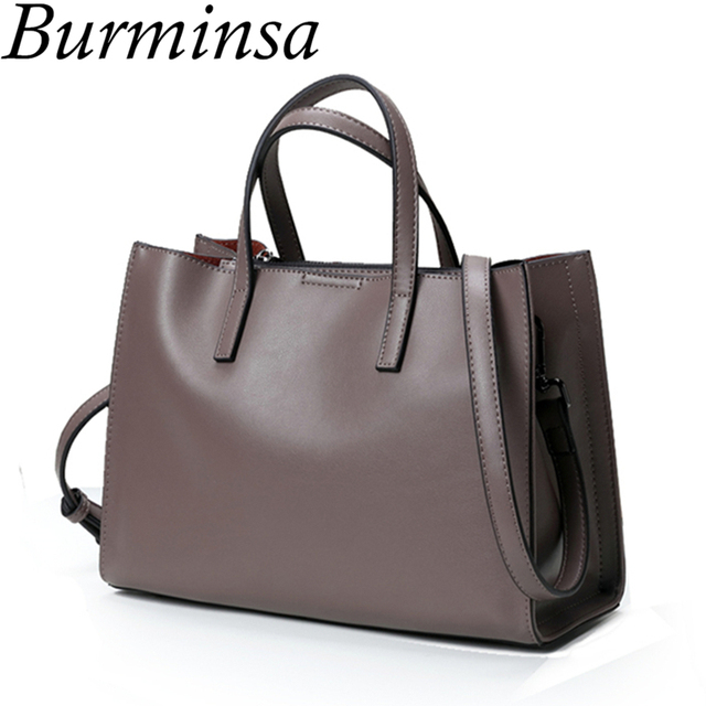ea44744f353d Burminsa Ladies Genuine Leather Bags Causal Tote Cow Real Leather Handbag  Designer Female Shoulder Messenger Bags For Women 2019