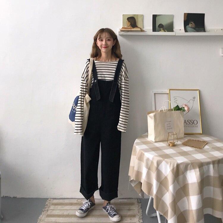 Mono Pantalones Ancho De Agradable Suelta Algodón Mezclilla Overol Oficina Pantalón Señora Casual Larga Coreano Pengpious 2018 Estilo Mujer wqnpvwPa